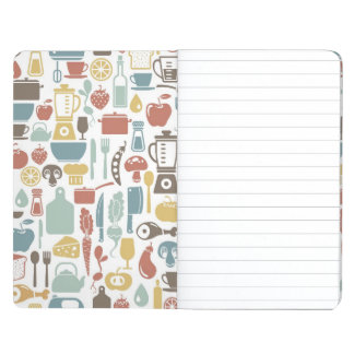Pattern with cooking icons journal