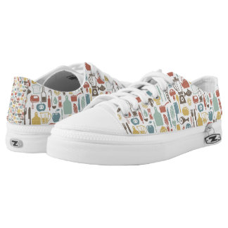 Pattern with cooking icons low tops