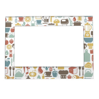 Pattern with cooking icons magnetic frame