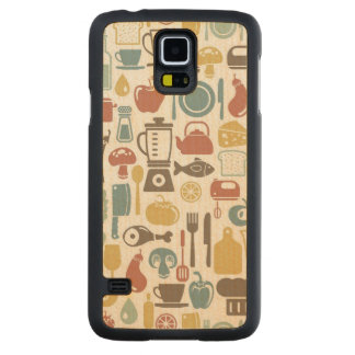 Pattern with cooking icons maple galaxy s5 slim case