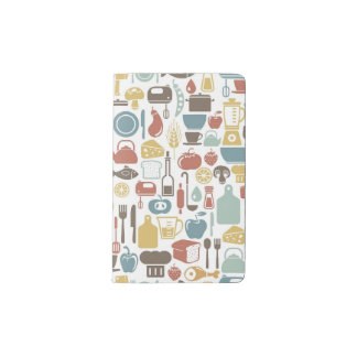 Pattern with cooking icons pocket moleskine notebook
