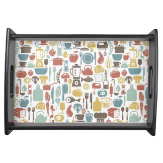 Pattern with cooking icons serving tray