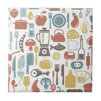 Pattern with cooking icons small square tile