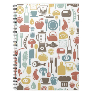 Pattern with cooking icons spiral note book