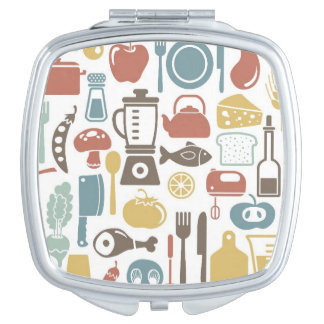 Pattern with cooking icons travel mirror