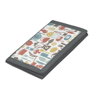 Pattern with cooking icons trifold wallet