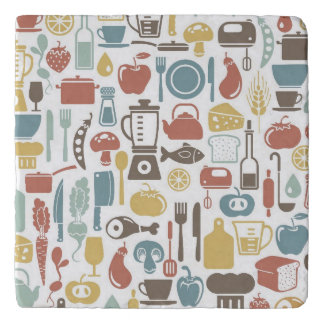 Pattern with cooking icons trivet