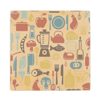 Pattern with cooking icons wood coaster