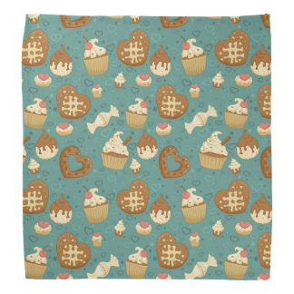 Pattern with cupcakes and candies bandana