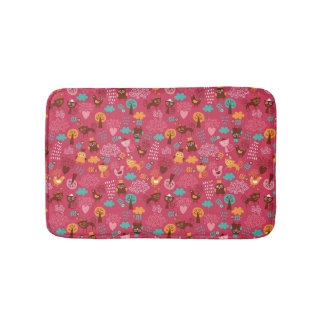 Pattern with cute birds and cats bath mat