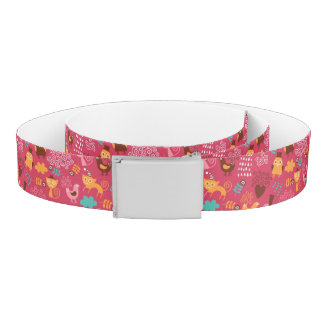 Pattern with cute birds and cats belt