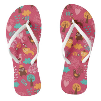 Pattern with cute birds and cats flip flops