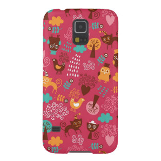 Pattern with cute birds and cats galaxy s5 cover