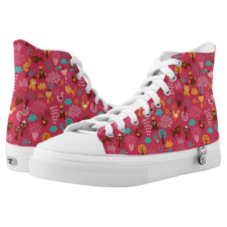 Pattern with cute birds and cats high tops