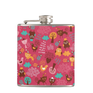Pattern with cute birds and cats hip flask