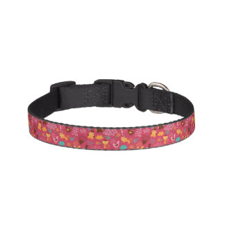 Pattern with cute birds and cats pet collar