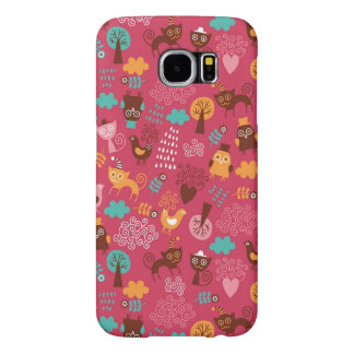 Pattern with cute birds and cats samsung galaxy s6 cases