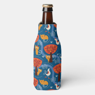 pattern with cute cats and birds bottle cooler
