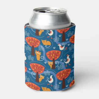 pattern with cute cats and birds can cooler