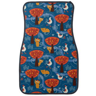 pattern with cute cats and birds car mat