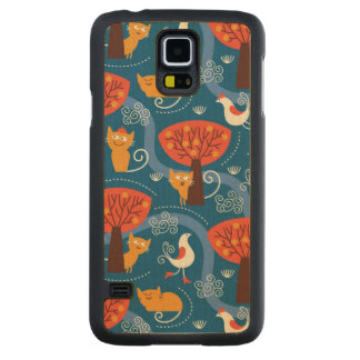pattern with cute cats and birds carved maple galaxy s5 case