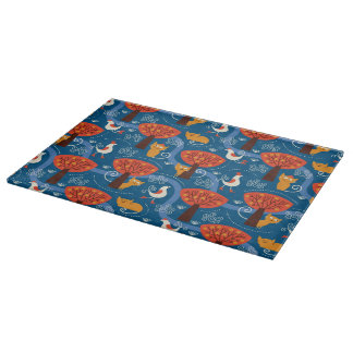 pattern with cute cats and birds cutting board