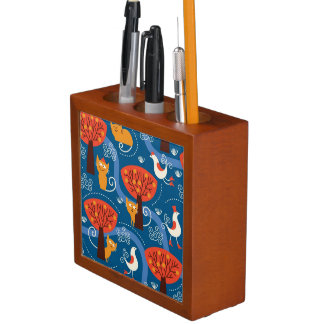 pattern with cute cats and birds desk organiser