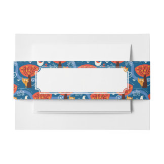 pattern with cute cats and birds invitation belly band