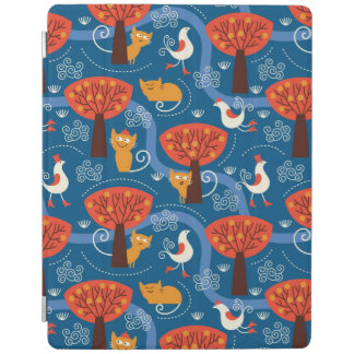 pattern with cute cats and birds iPad cover