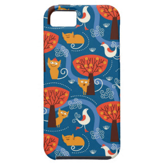 pattern with cute cats and birds iPhone 5 covers