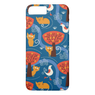 pattern with cute cats and birds iPhone 8 plus/7 plus case