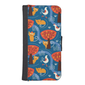 pattern with cute cats and birds iPhone SE/5/5s wallet case
