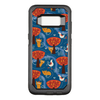 pattern with cute cats and birds OtterBox commuter samsung galaxy s8 case