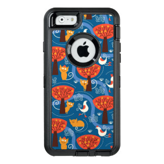 pattern with cute cats and birds OtterBox defender iPhone case