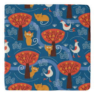 pattern with cute cats and birds trivet