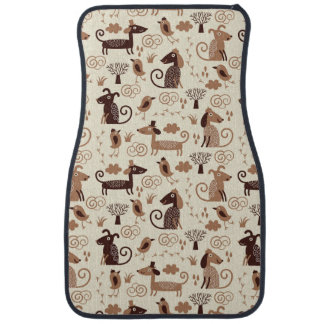 pattern with cute dogs car mat