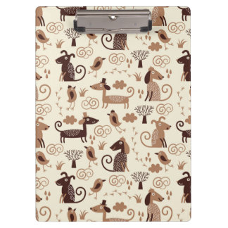 pattern with cute dogs clipboard