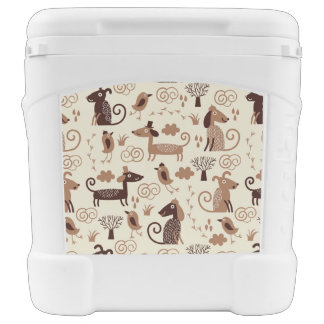 pattern with cute dogs cooler