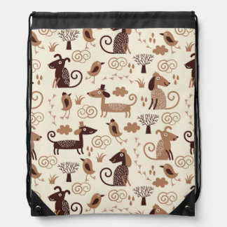 pattern with cute dogs drawstring bag