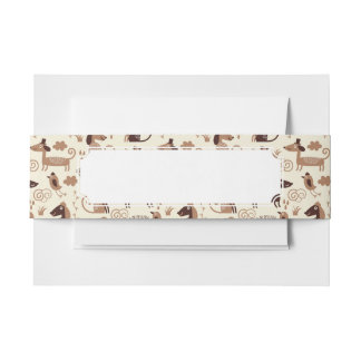 pattern with cute dogs invitation belly band