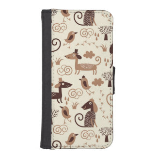 pattern with cute dogs iPhone SE/5/5s wallet case