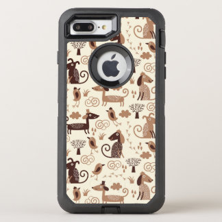 pattern with cute dogs OtterBox defender iPhone 8 plus/7 plus case