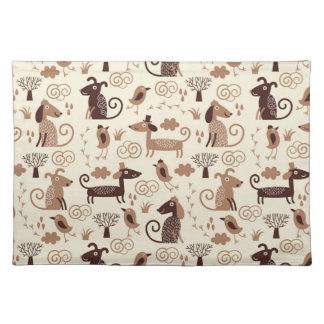 pattern with cute dogs placemat