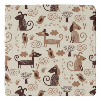 pattern with cute dogs trivet
