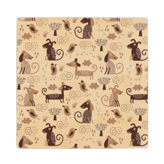 pattern with cute dogs wood coaster