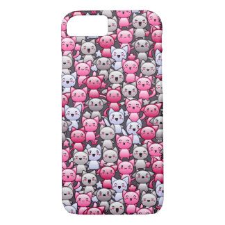 pattern with cute kawaii doodle cats 2 iPhone 7 case