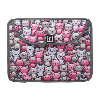 pattern with cute kawaii doodle cats 2 sleeve for MacBook pro