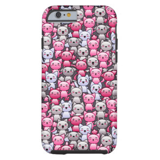 pattern with cute kawaii doodle cats 2 tough iPhone 6 case