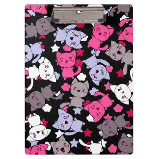 pattern with cute kawaii doodle cats 3 clipboard