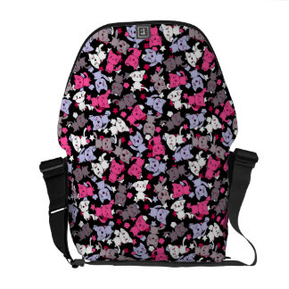 pattern with cute kawaii doodle cats 3 messenger bags